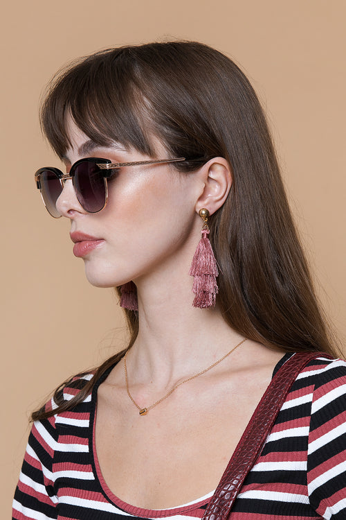 Dusky Pink Tassel Earrings