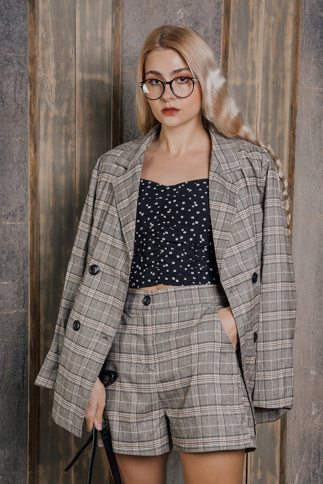 Plaid Double Breasted Blazer - Sugar + Style