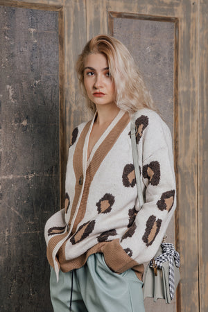Relaxed V Neck Leopard Cardigan - Sugar + Style
