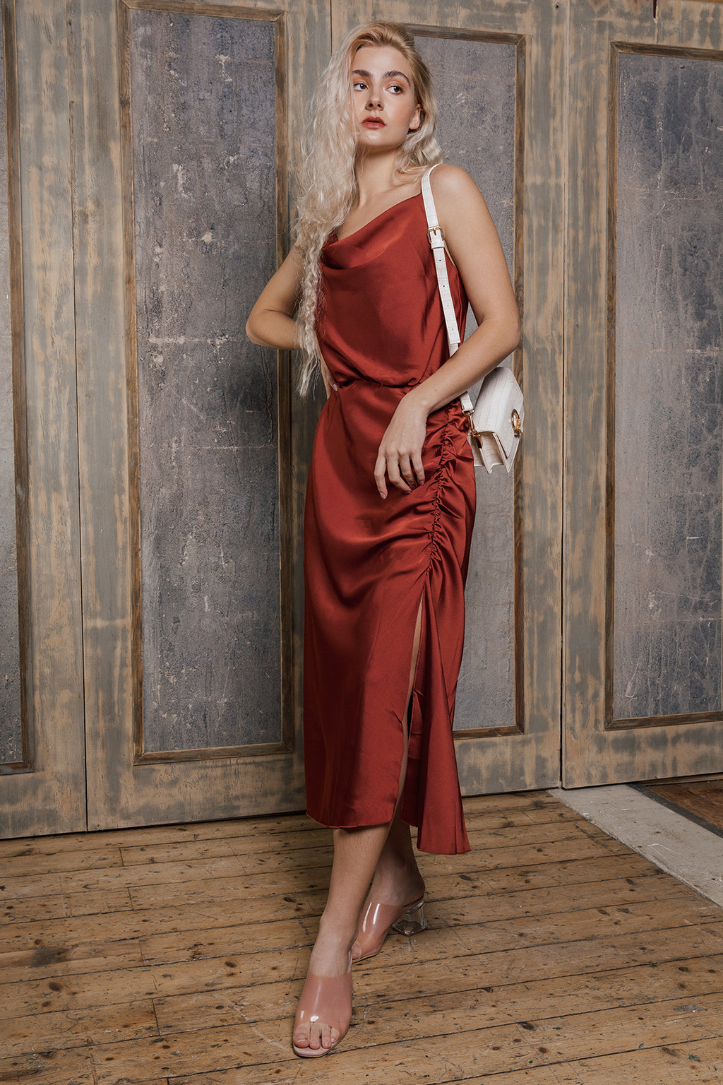 Red Satin Slip Dress - Sugar + Style