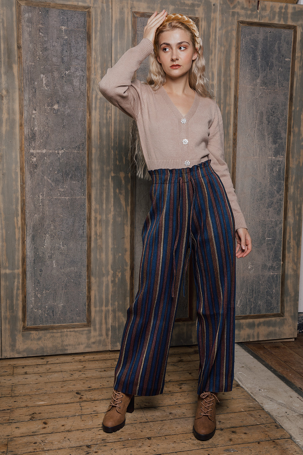 Trio Ribbed Velvet Stripe Wide Leg Pants - Sugar + Style