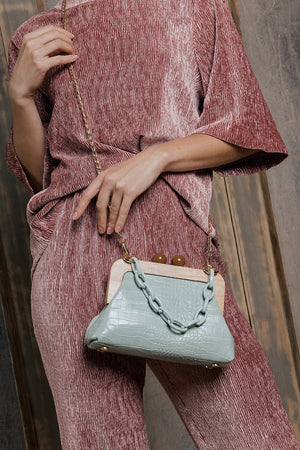 Wood Detail Clam Clasp Croc Bag - Sugar + Style