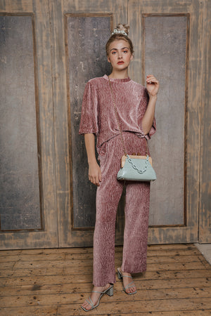 Crushed Velvet Wide Leg Lounge Pants - Sugar + Style