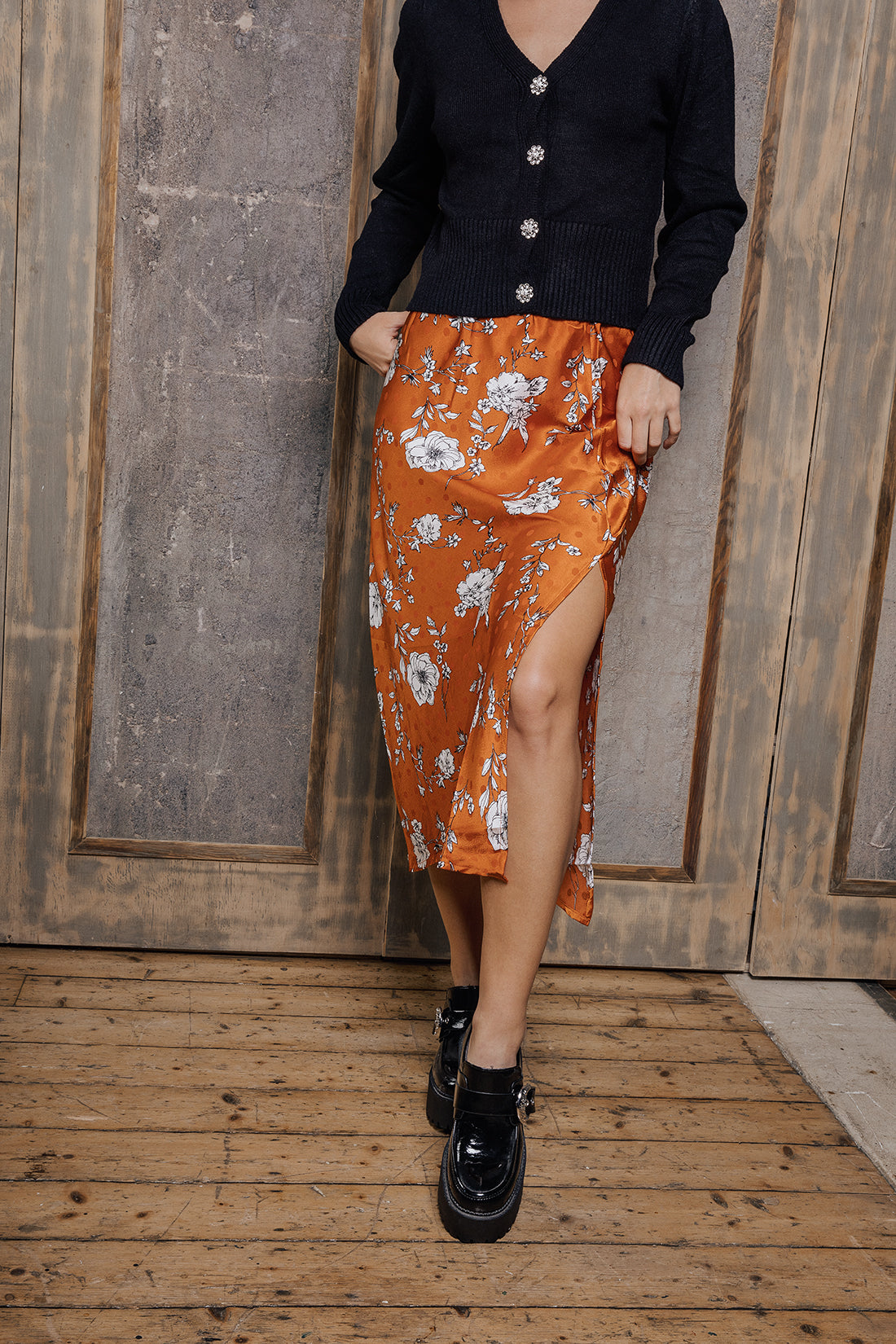 Floral Print Satin Look Side Slit Slip Skirt - Sugar + Style