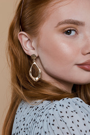 Irregular Matte Gold Tear Drop Earrings - Sugar + Style
