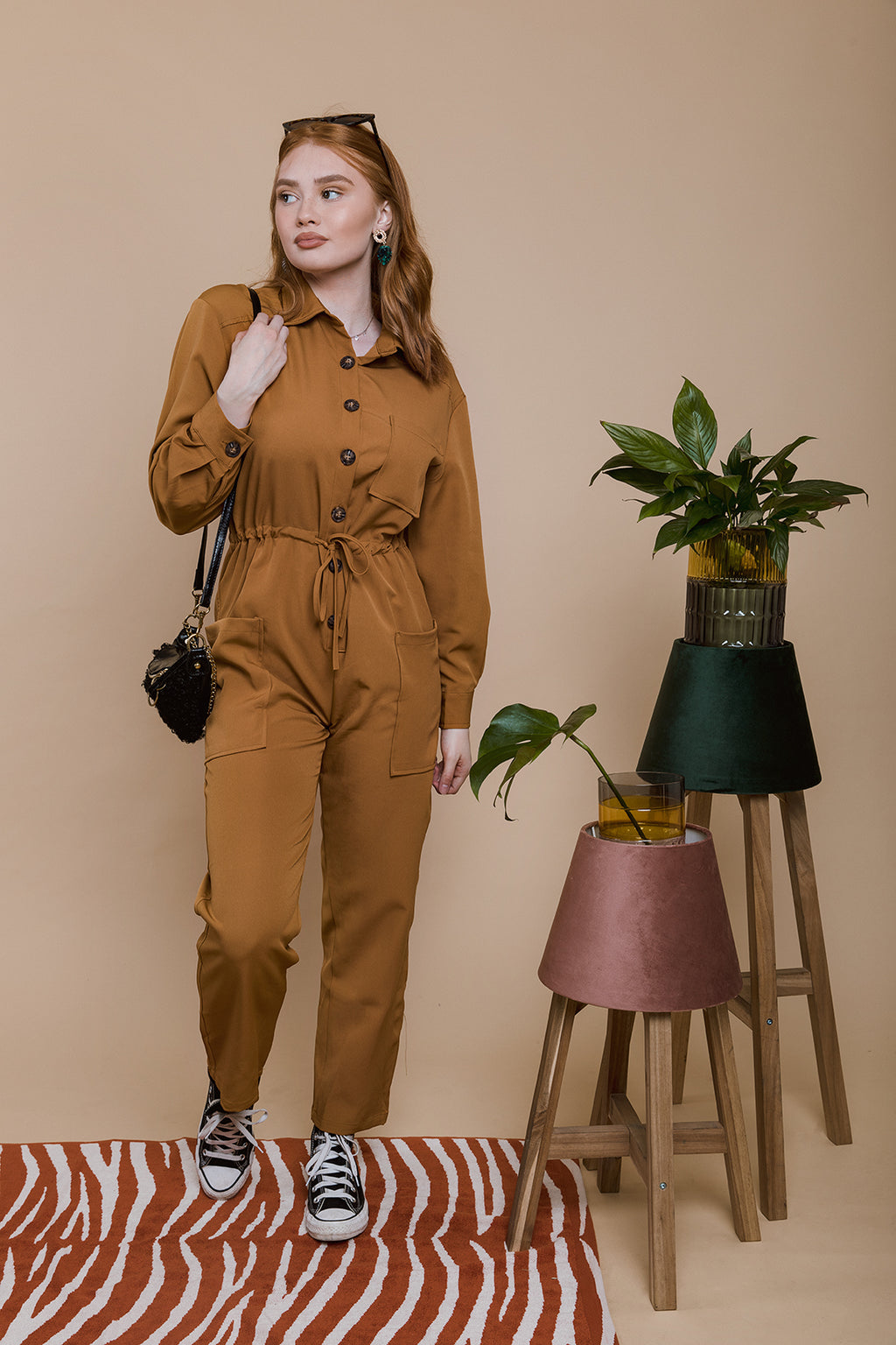 Button Front Utility Jumpsuit - Sugar + Style