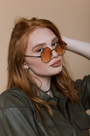 Hexagonal Metal Frame Sunglasses - Sugar + Style