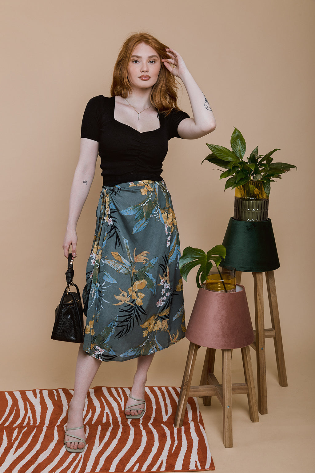 Green Floral Print Wrap Skirt - Sugar + Style