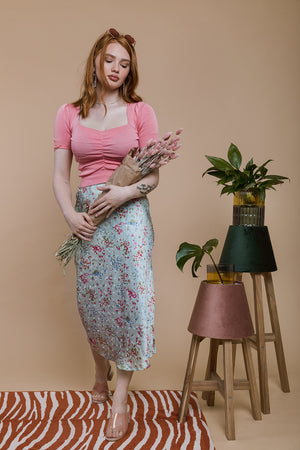 Floral Satin Slip Skirt - Sugar + Style
