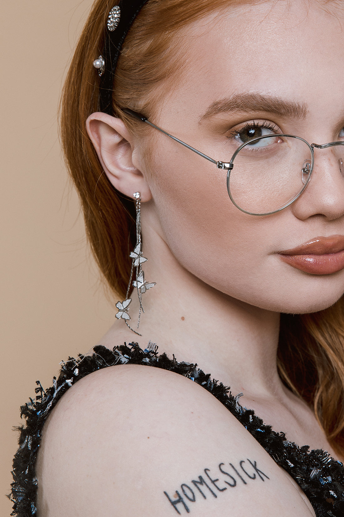 Thin Metal Frame Oval Frame Fashion Glasses - Sugar + Style