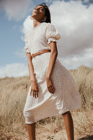 High Ruffle Neck Pleated Midi Dress with Spotted Pattern and Faux Leather Belt - Sugar + Style