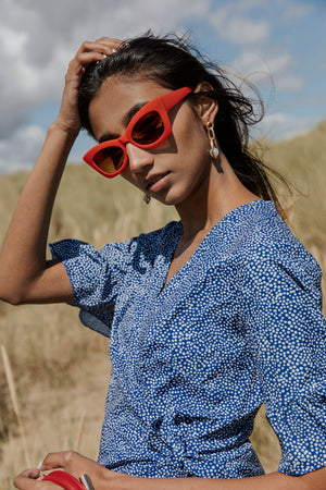 Chunky Red Cat Eye Sunglasses - Sugar + Style