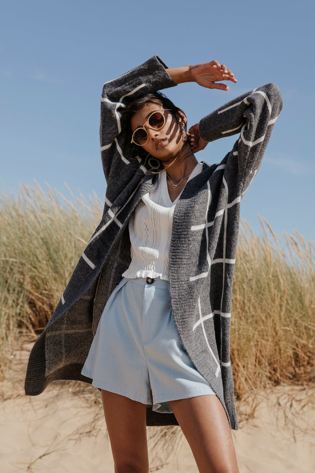 Grey Grid Long Cardigan - Sugar + Style