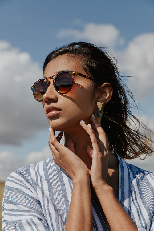 Classic Acetate Aviators with Metal Top Bar Detail