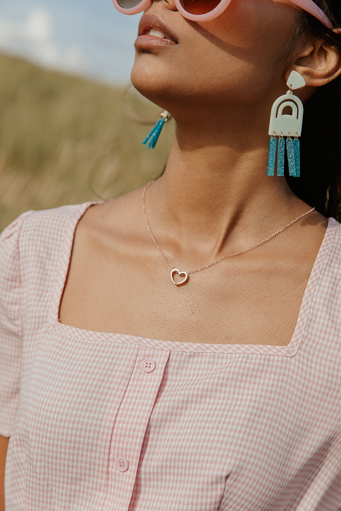 Turquoise Geometric Laser Cut Wind-chime Earrings - Sugar + Style