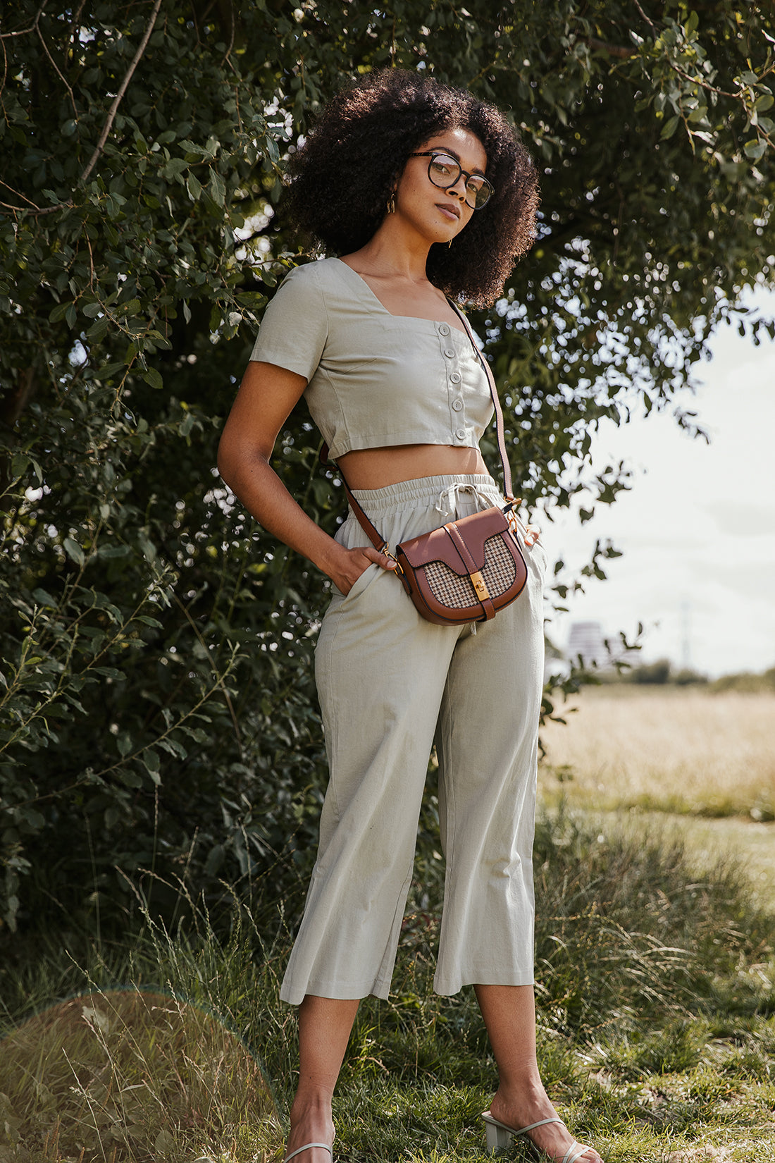 Rustic Drawstring Look Straight Leg Cropped Trousers - Sugar + Style