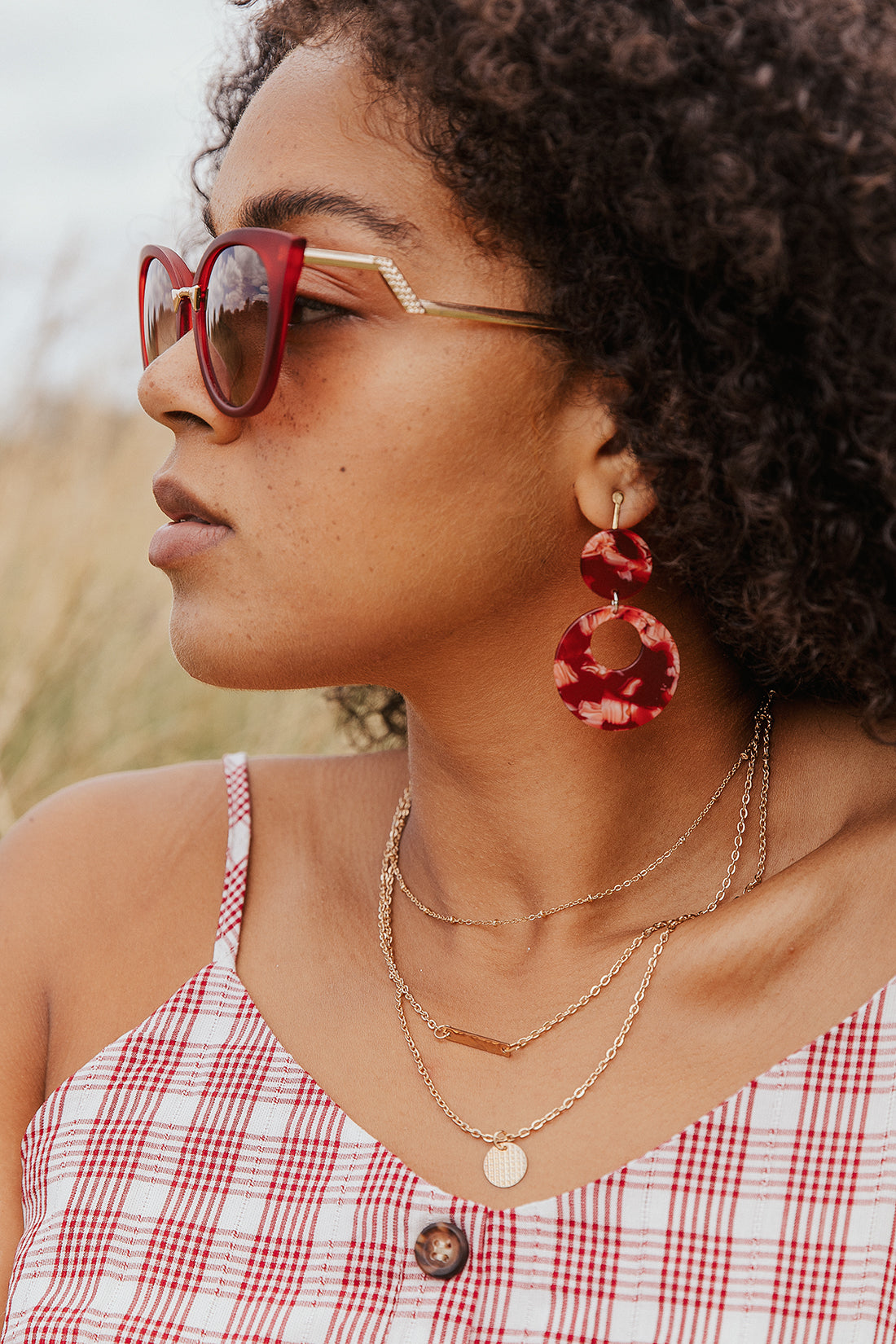 Red Marble Cut Out Circle Earrings - Sugar + Style