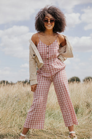 Red Check Summer Spaghetti Strap Button Down Jumpsuit - Sugar + Style