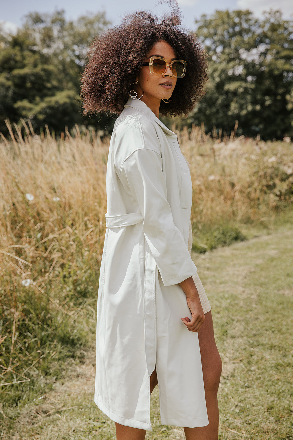 White Longline Vegan Leather Trench - Sugar + Style