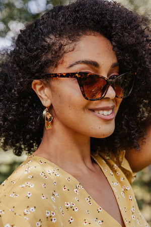 Gold Twisted Hoop Earrings - Sugar + Style