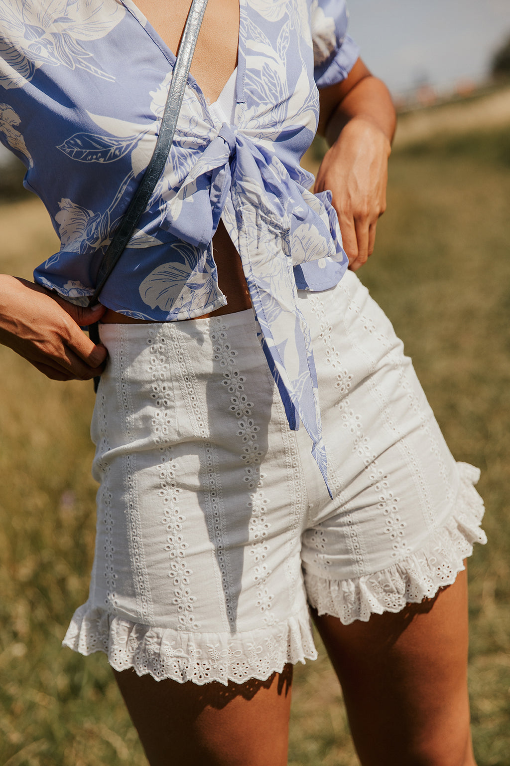 High Waisted Broderie Frill Hem Shorts - Sugar + Style