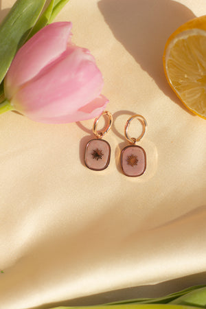 Sunburst Huggie Hoop Earrings - Sugar + Style