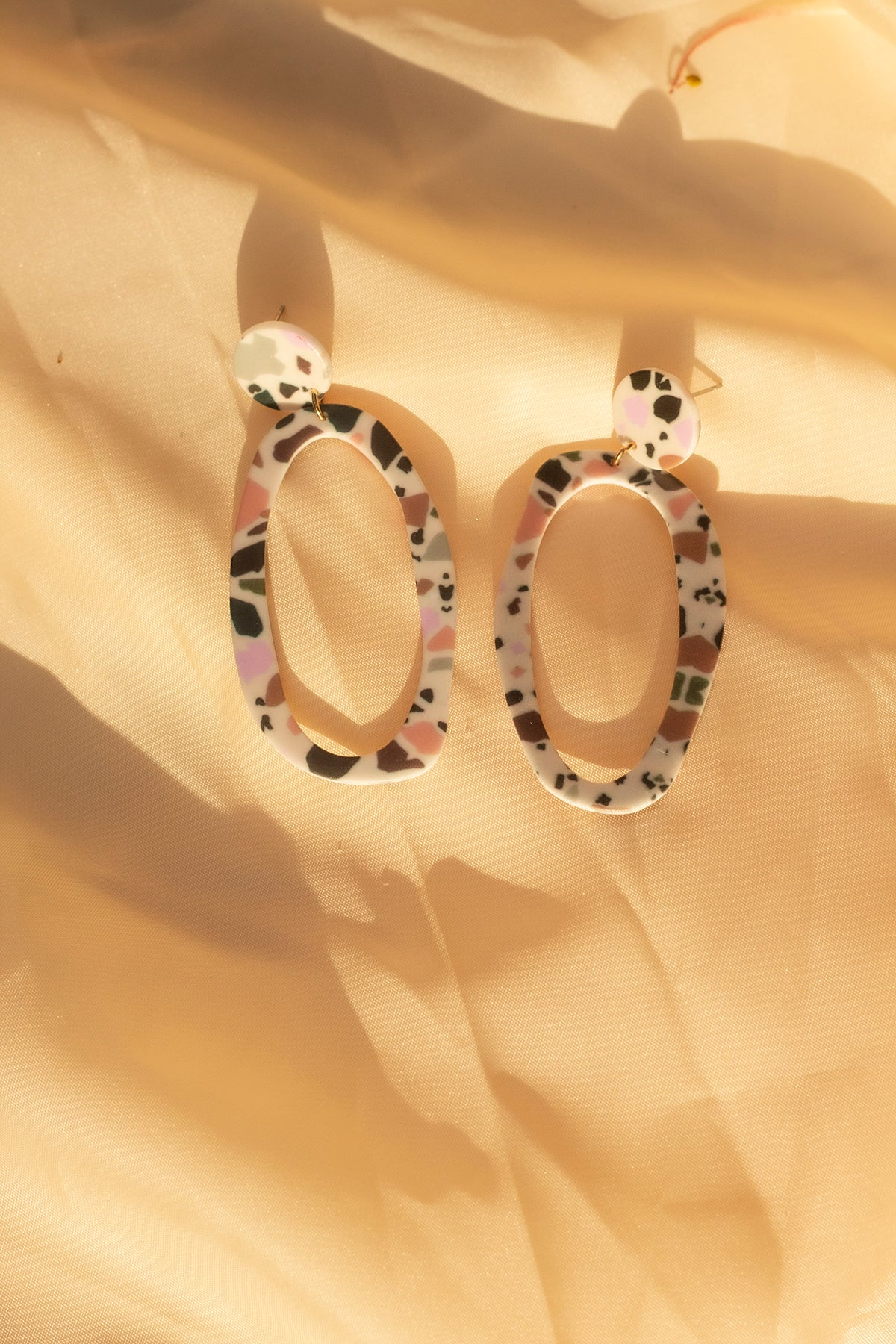 Terazzo Effect Loop Earrings - Sugar + Style