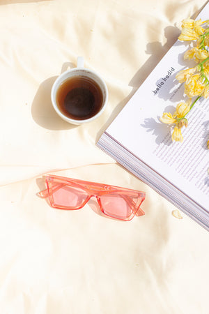 Transparent Pink Oblong Cat Eye Sunglasses - Sugar + Style