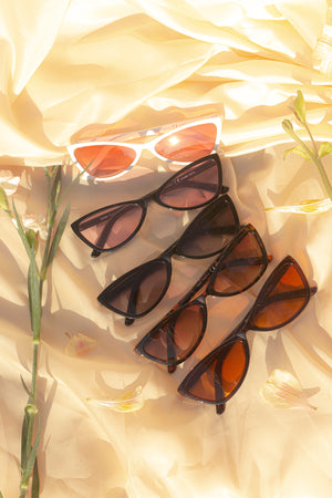 Triangle Cut Sunglasses with Pink Tint Lens - Sugar + Style