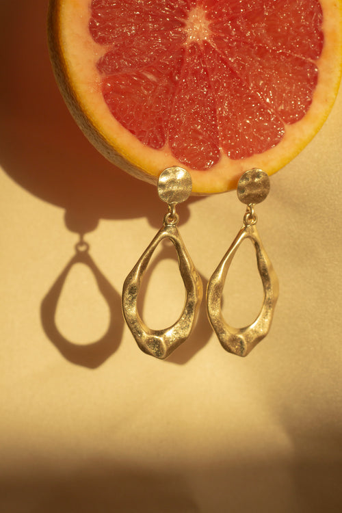 Irregular Matte Gold Tear Drop Earrings