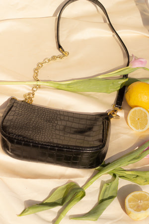 Croc Effect 90s Mini Shoulder Bag - Sugar + Style