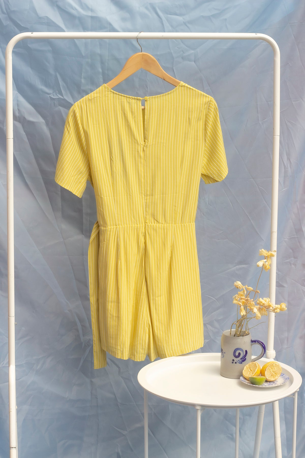 Short Sleeve Pinstripe Playsuit with Self Fasten Belt - Sugar + Style
