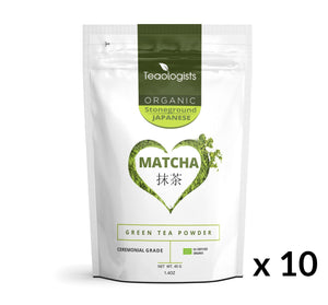 Matcha Green Tea - Organic Japanese Ceremonial Grade BULK BUY 400g (10 x 40g)