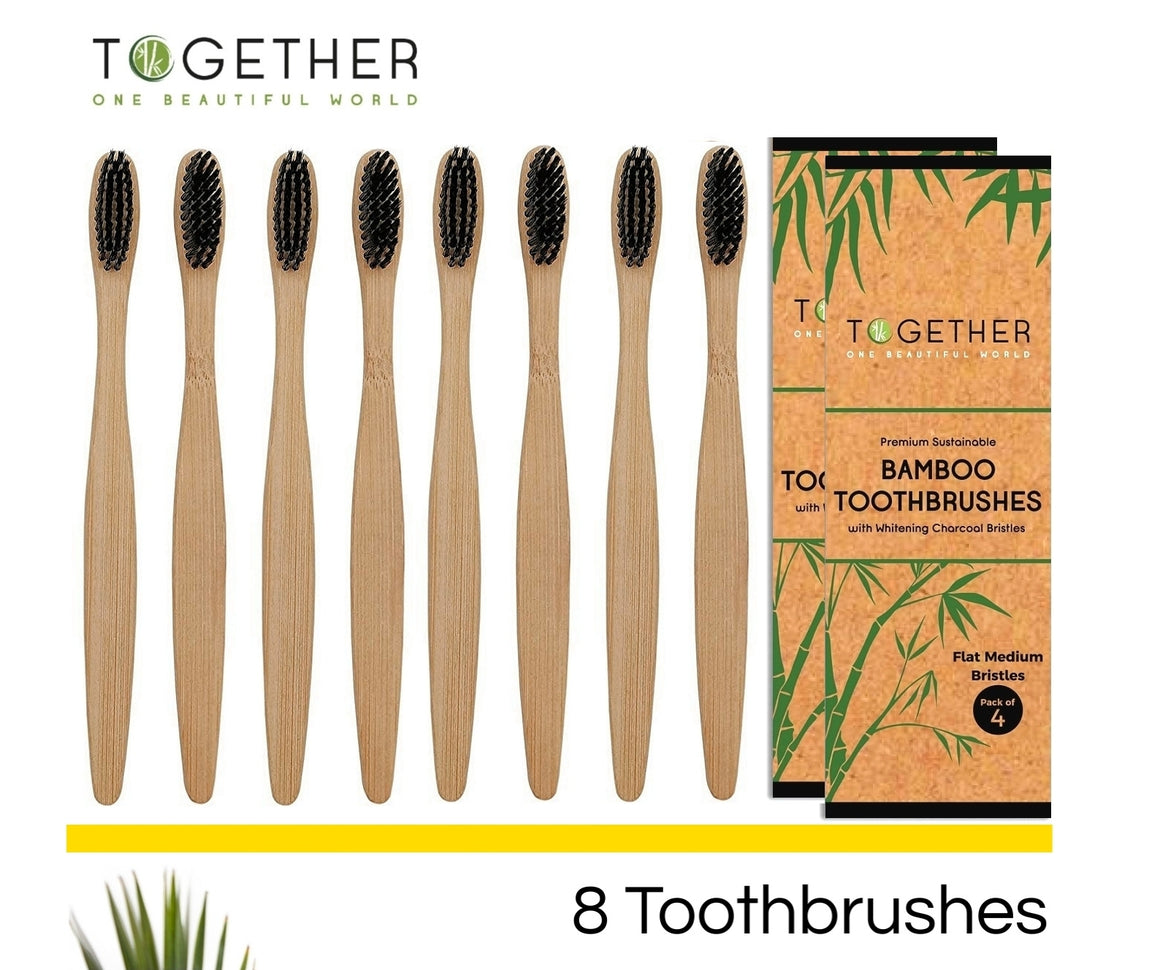 Bamboo Toothbrushes with Charcoal Bristles Pack of 8