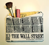 Newsprint Makeup Pouch with yellow lining