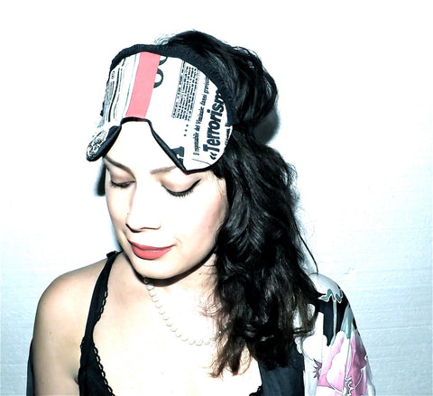NewsPrint Sleeping Mask with Red Suede Colour Block and Black Ruffle Trim Detailing