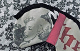 Marilyn Monroe Print Sleeping Mask with Pink Suede Colour Block and Black Ruffle Trim Detailing