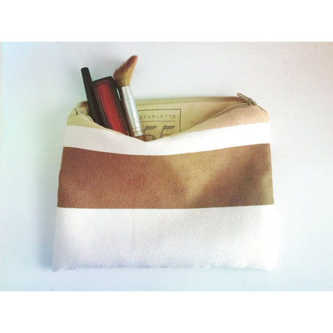 Rustic Striped Suede Pouch