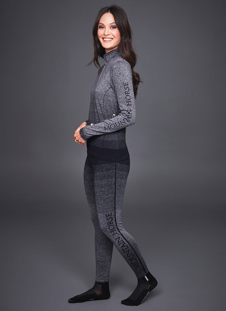 "Lange Unterhose ""Tindra Leggings"" in Black Melange von Mountain Horse"