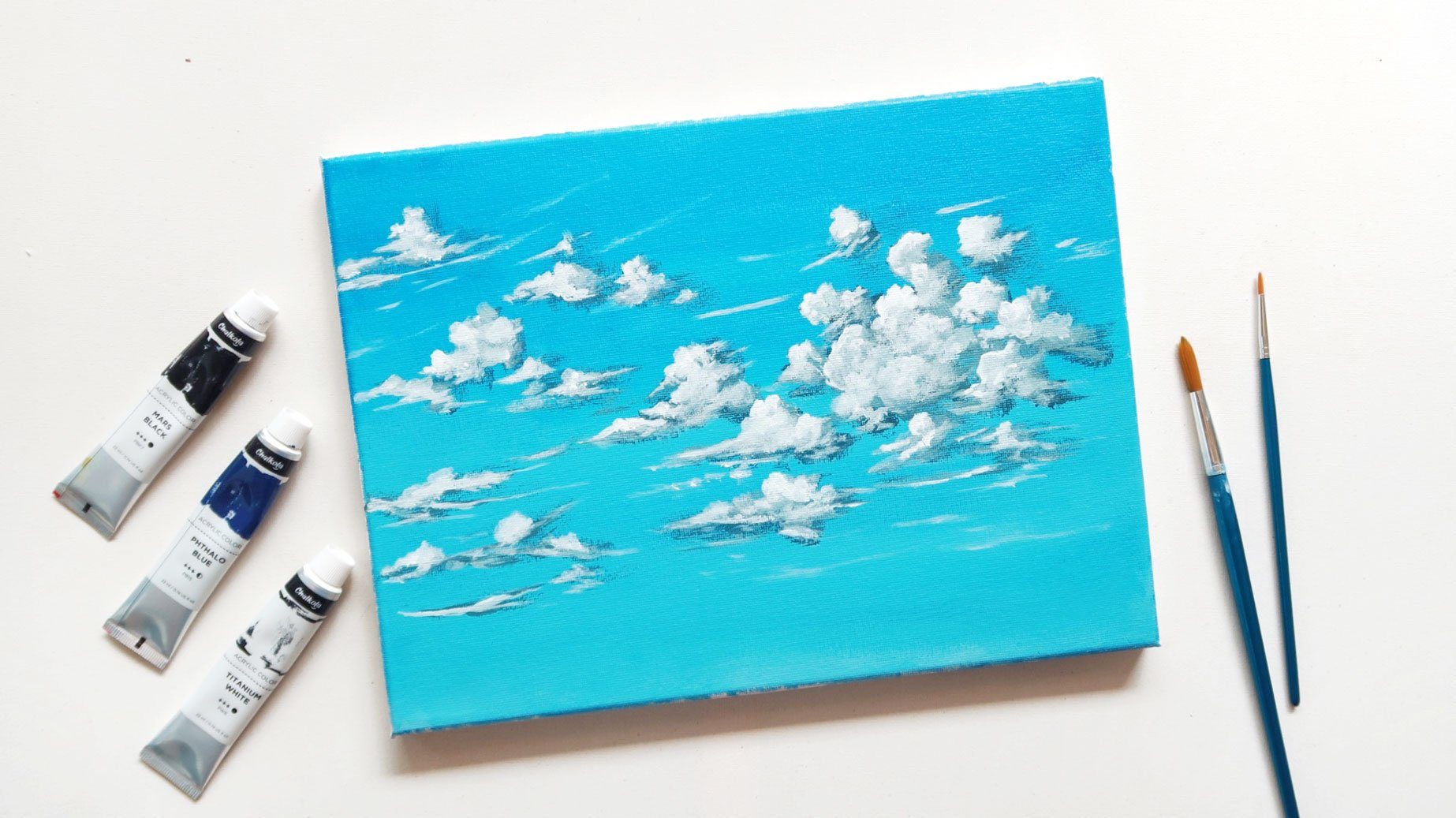 Acrylic Painting Of Blue Sky and Clouds