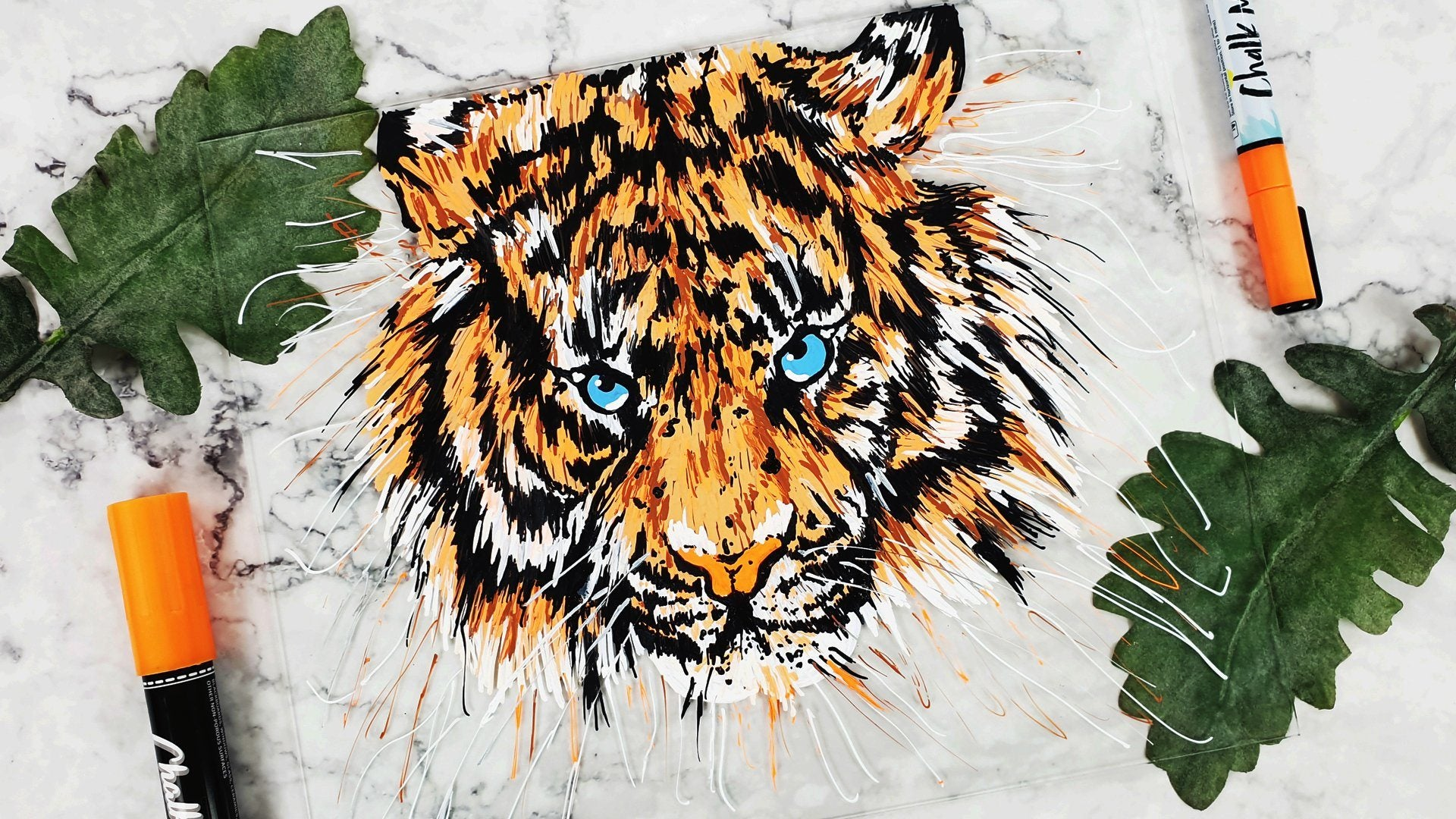Draw a Tiger on Glass Using Chalk Markers | Chalkola Art Supply