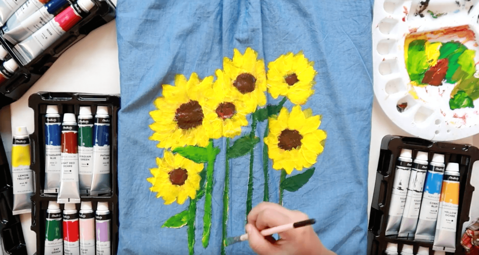 Hand Painted Sunflower on DIY Denim Dress Using Acrylic Paint