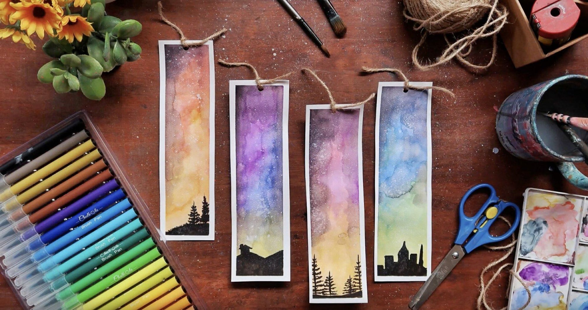 How to Paint a Gradient DIY Bookmark with Watercolor Brush Pens | Chalkola Art Supply