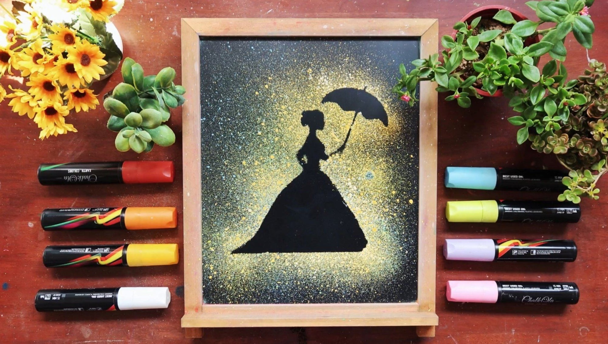 How to Paint Silhouettes Using Splatter Technique with Chalk Markers | Chalkola Art Supply
