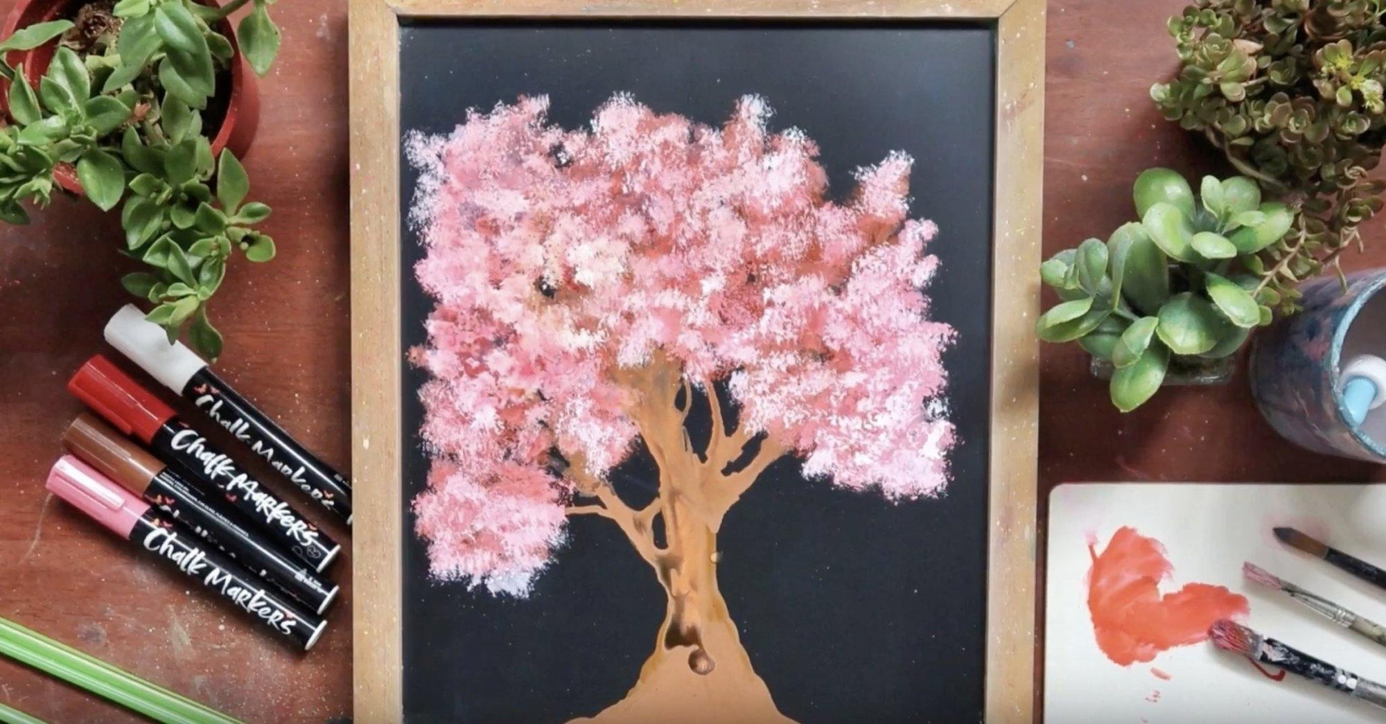 Paint Cherry Blossom Tree with Chalk Markers and Straw | Chalkola Art Supply