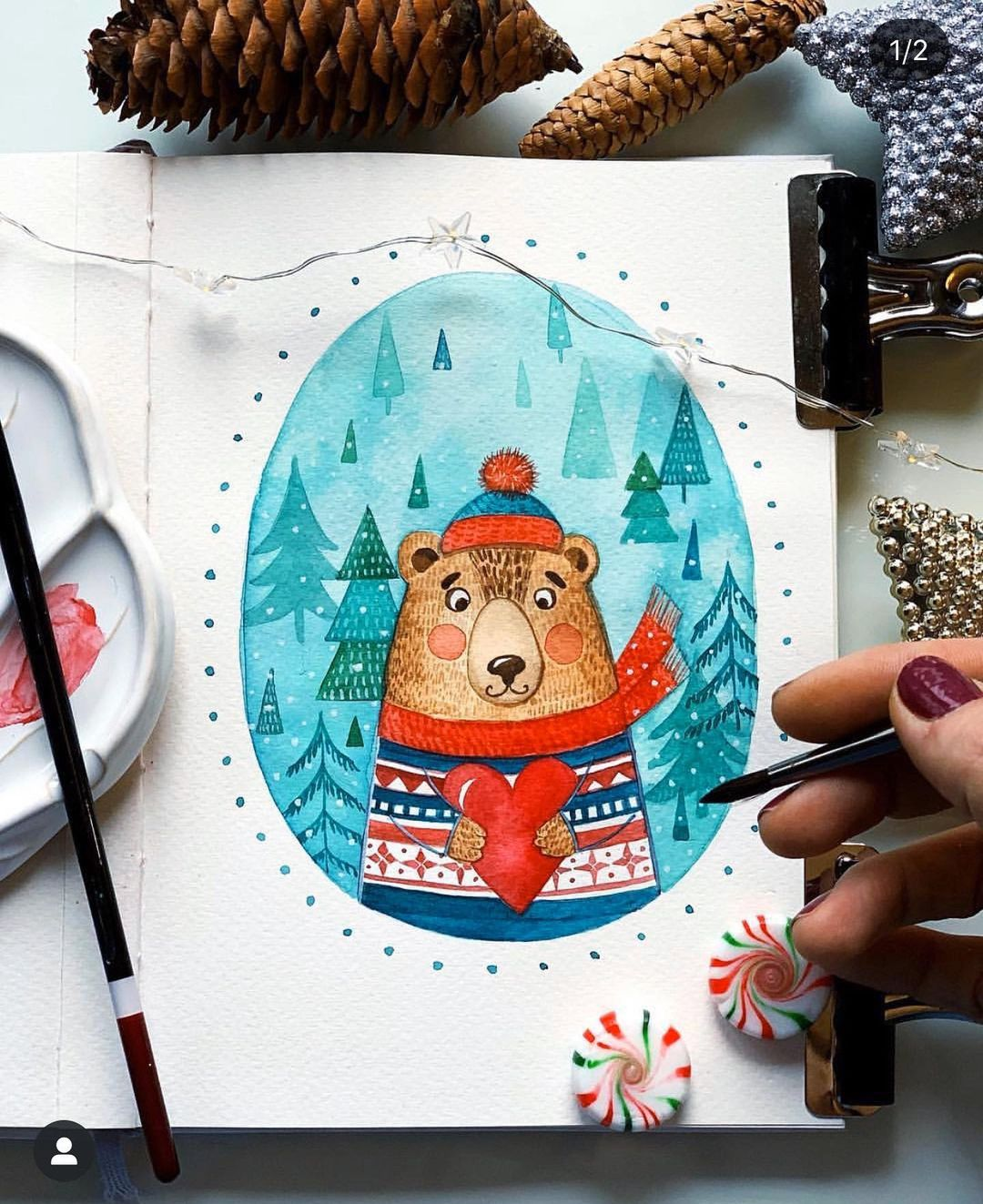 Christmas Watercolor Painting 1
