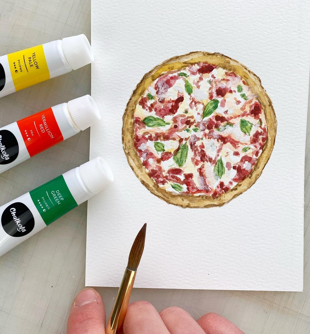 Pizza Watercolor Painting