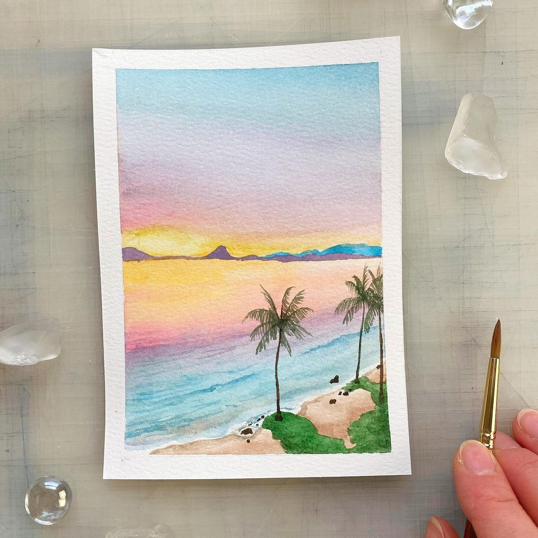 Seascape Watercolor Painting 1