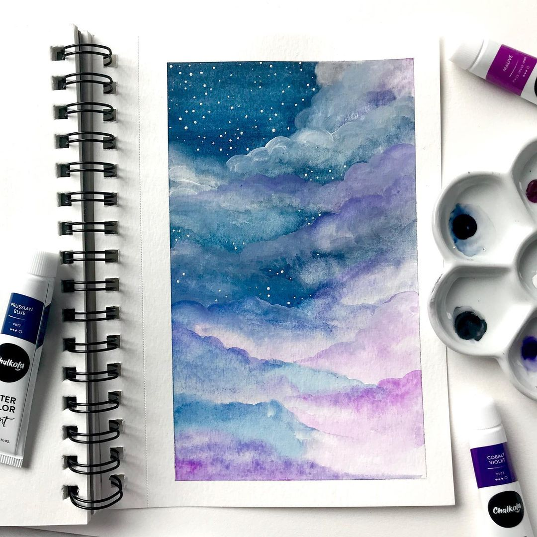 Skyscape Watercolor Painting 6