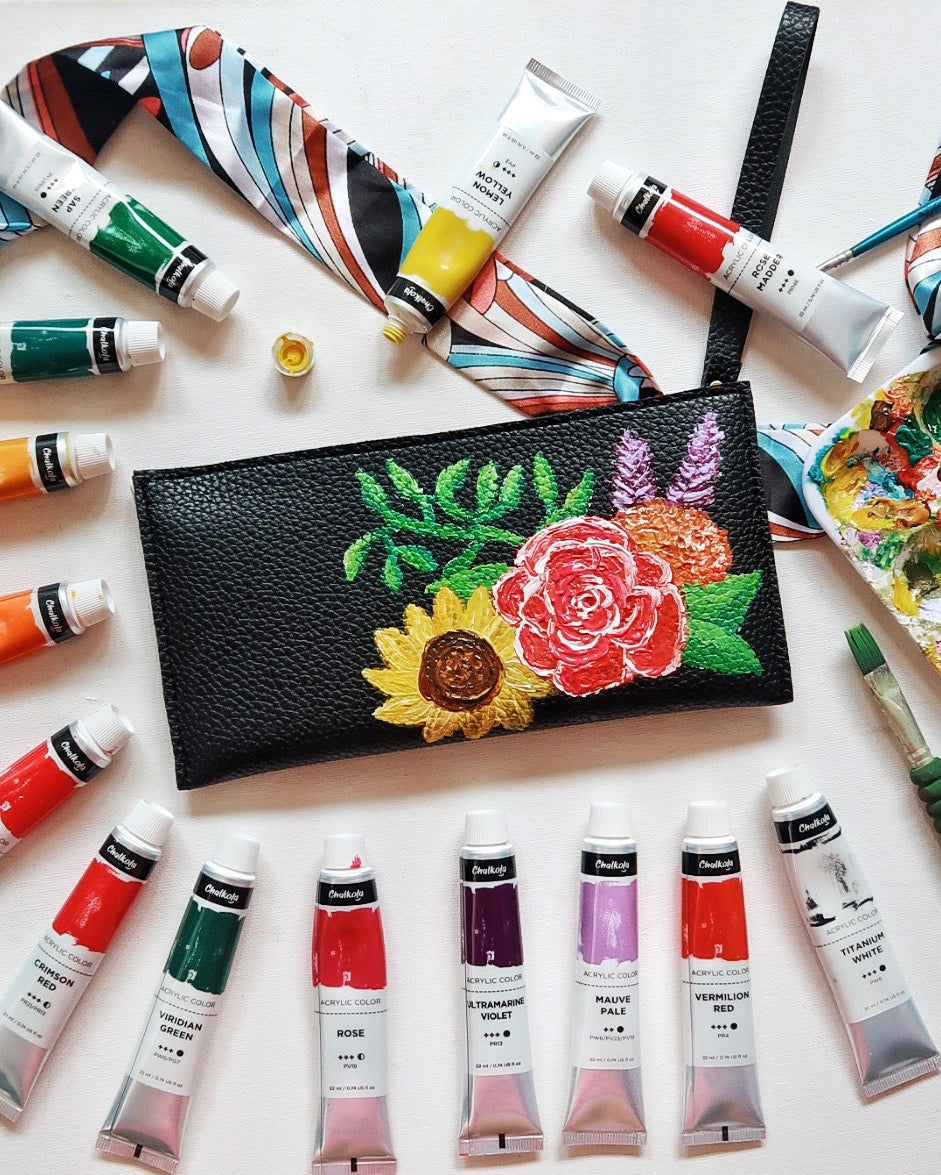 Wearable Acrylic Painting on Leather Wallet